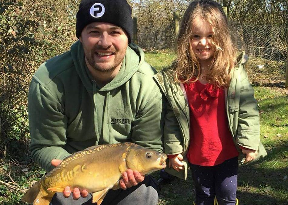 Adam Ulph and daughter Iris as they shared their first fishing trip together